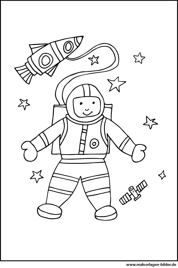 malvorlage von einem astronaut  kosenlose ausmalbilder