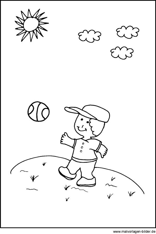 kostenlose Malvorlage - Junge mit Ball - Ausmalbilder