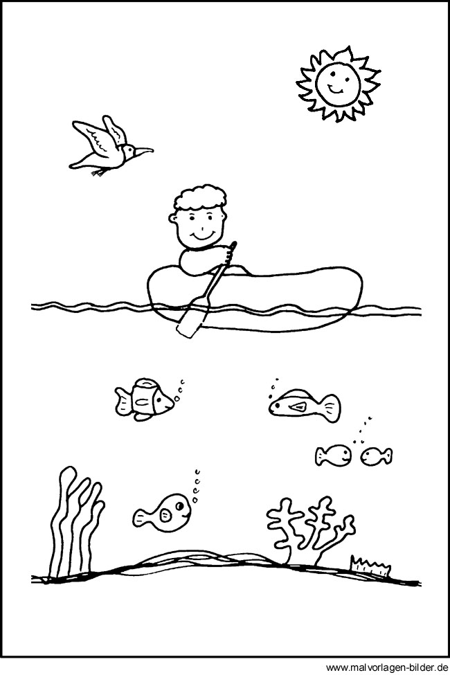 Junge im Boot - Sonne - Fische - Ausmalbilder und Malvorlagen für Kinder