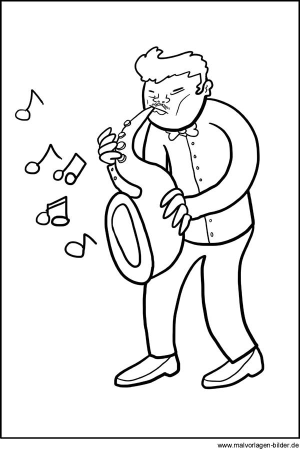 musiker mit einem saxophon  gratis malvorlage und ausmalbild