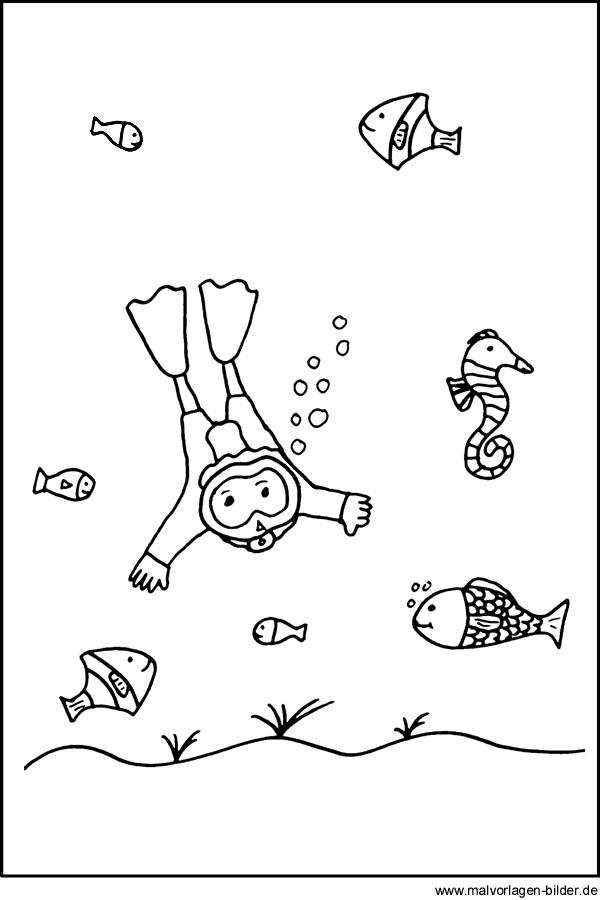 Ausmalbild - Taucher und Fische im Meer - Malvorlagen für Kinder