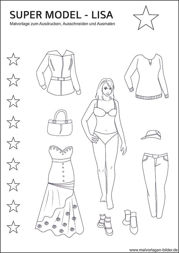 Lisa und viele kleider als kostenlose ausmalbilder zum ausdrucken