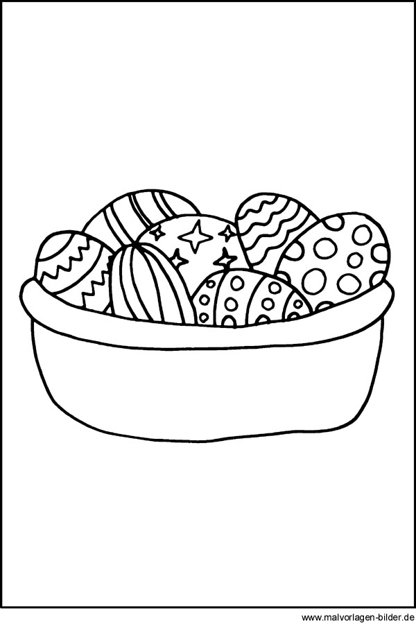 Ostereier als Ausmalbild - Malvorlagen zu Ostern