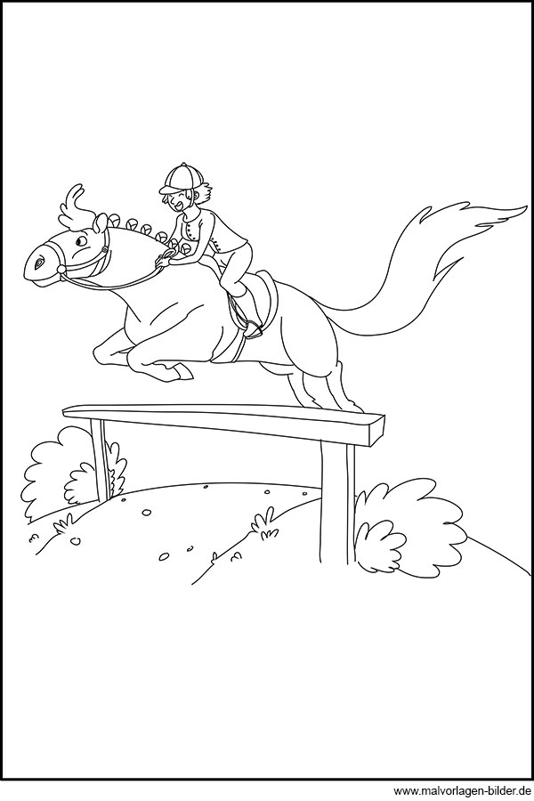 hindernis springen mit einem pferd  ausmalbild