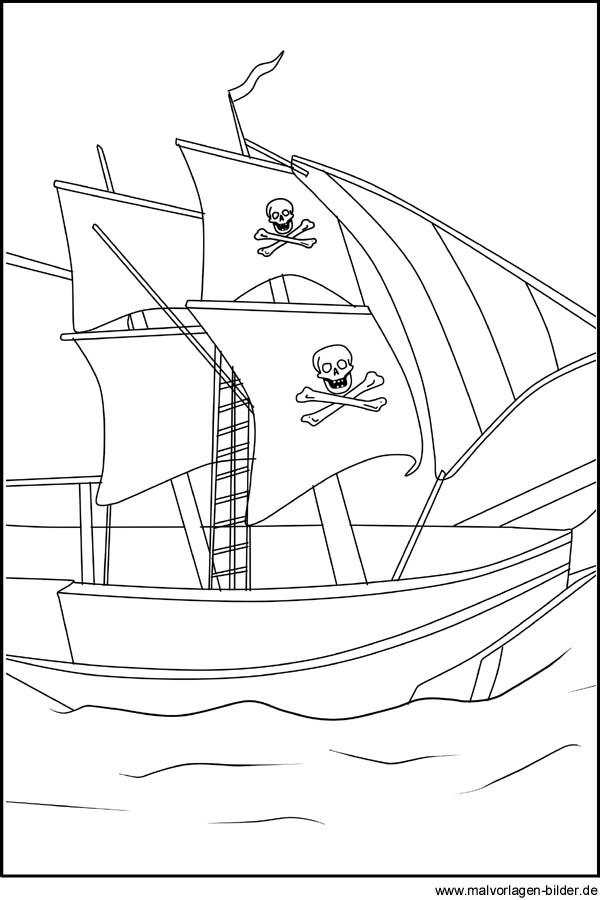 Piratenschiff Kostenlose Ausmalbilder