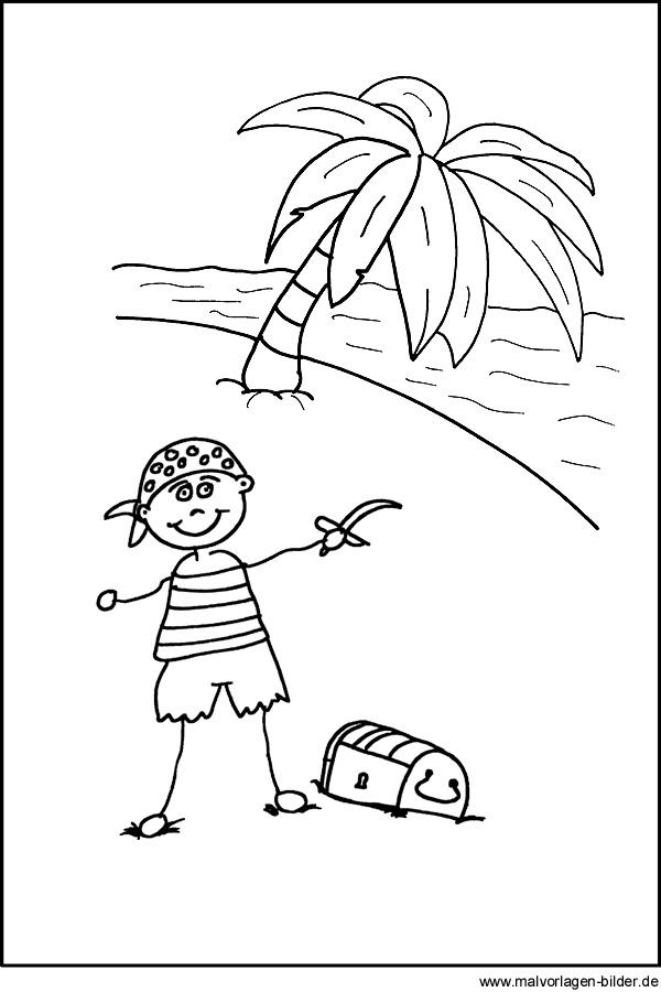 Pirat mit seiner schatzkiste kostenlose malvorlage zum ausmalen