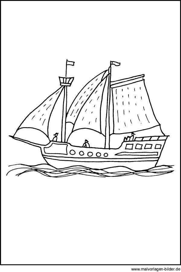 Malvorlage von einem Piratenschiff - kostenlose Ausmalbilder für ...