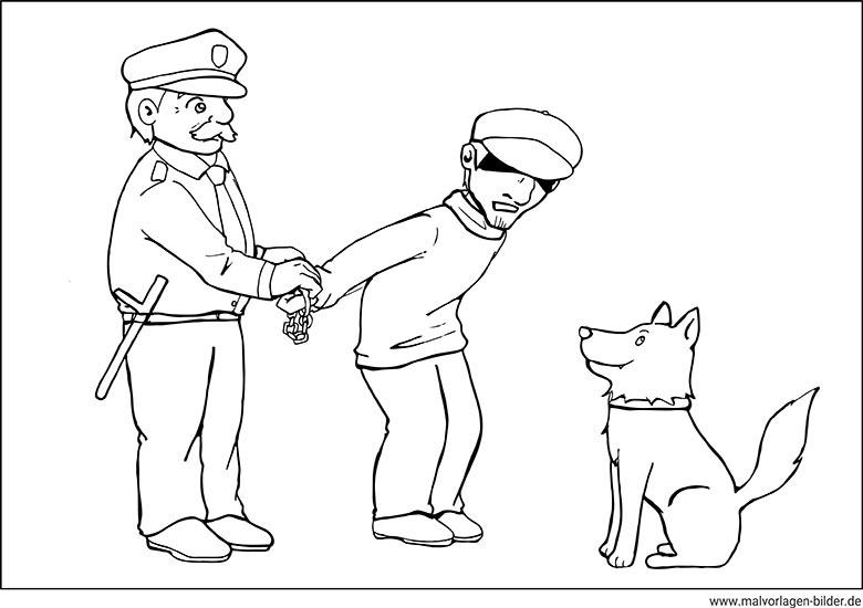 polizei und der dieb  ausmalbild zum ausdrucken