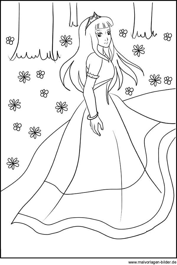 Gratis Ausmalbilder von einer Prinzessin