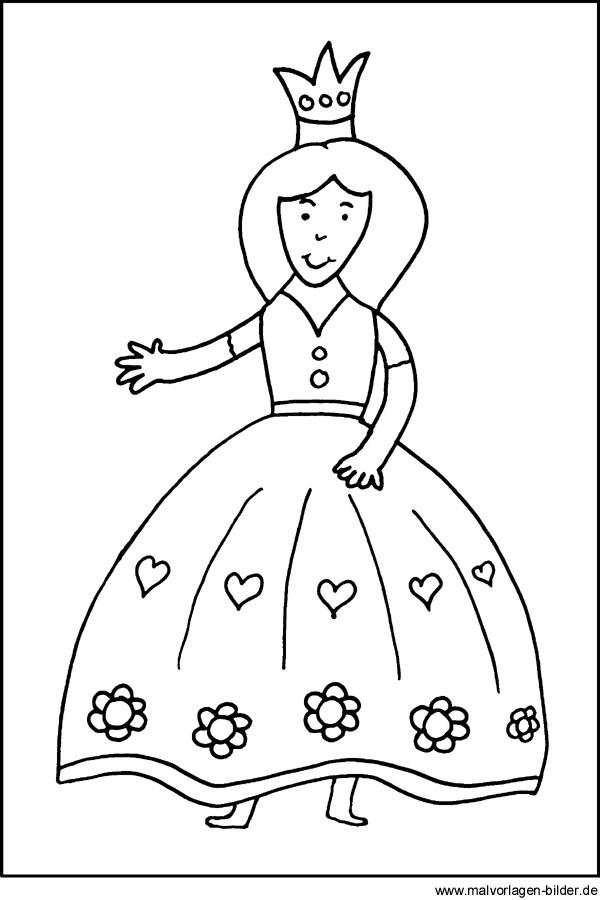 Kostenlose Malvorlage von einer Prinzessin für Kinder