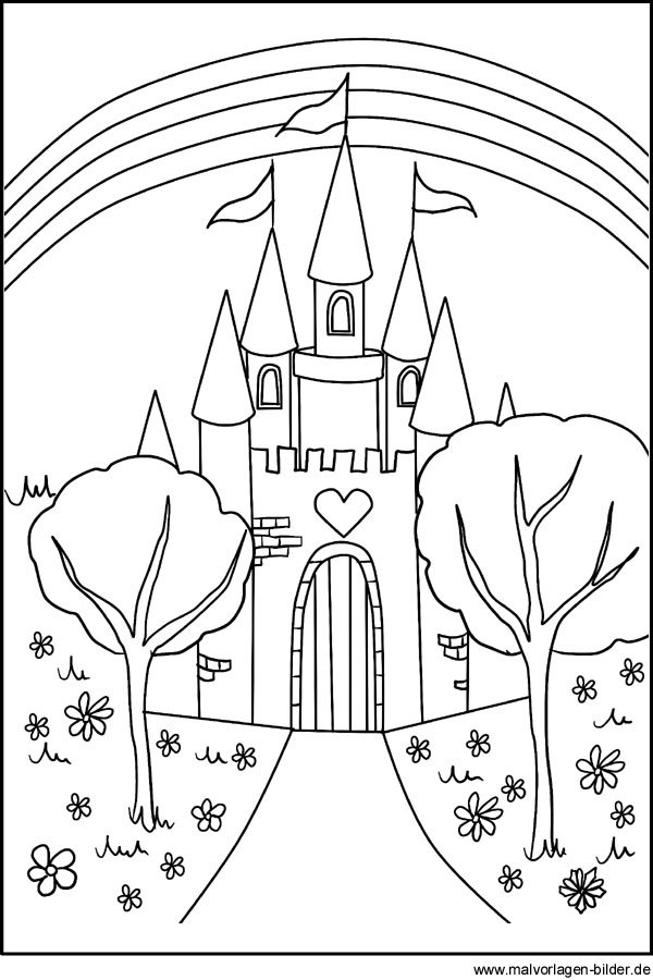 Malvorlagen und Ausmalbilder - Schloss - Märchenschloss