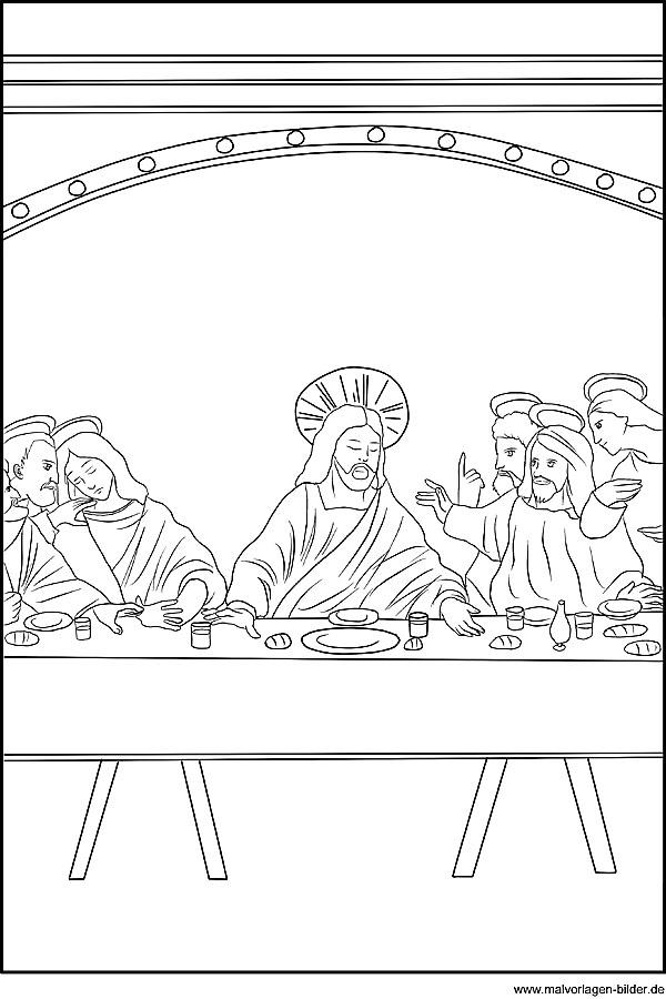religion ausmalbild das letzte abendmahl mit jesus und