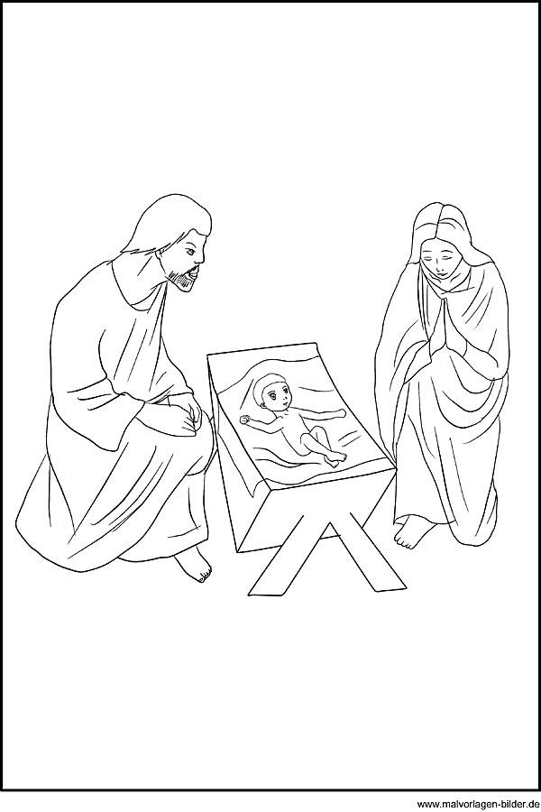 Ausmalbild - Maria, Josef und das Christkind