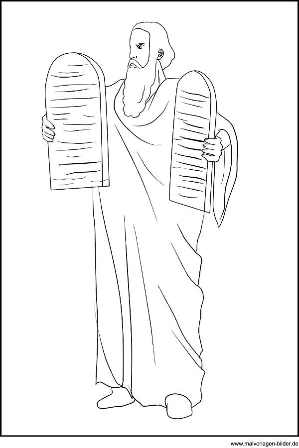 Ausmalbild - Moses und die Zehn Gebote