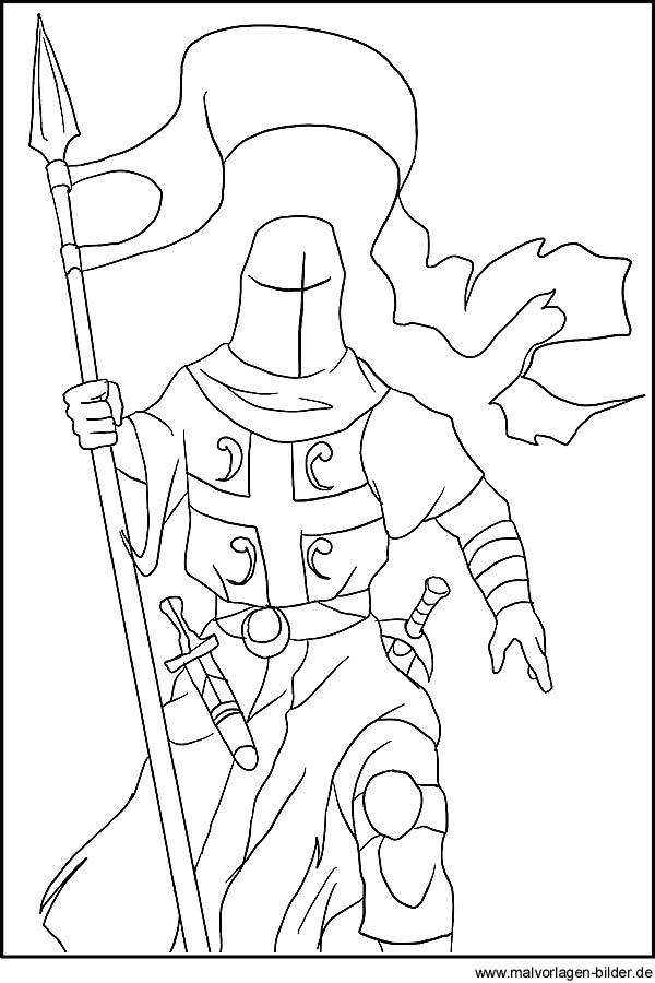 Ritter - Ausmalbilder zum Ausdrucken