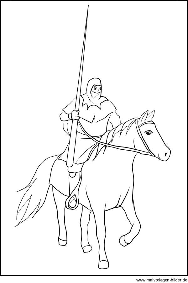 Ritter Mit Lanze Auf Seinem Pferd Ausmalbild Ritterturnier