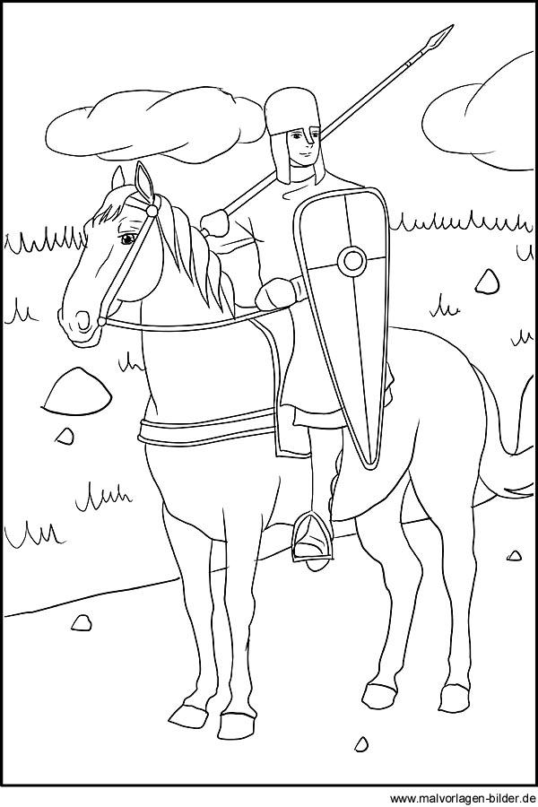 Ritter auf seinem Pferd - Malvorlagen und Ausmalbilder