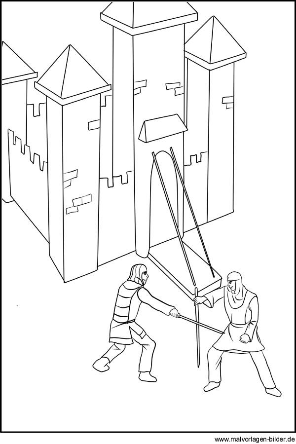 Ritter beim Schwertkampf als gratis Ausmalbild