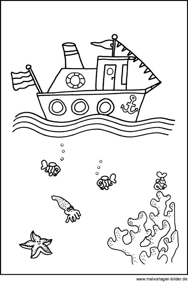 Schiff Boot - Kostenlose Ausmalbilder für Kinder
