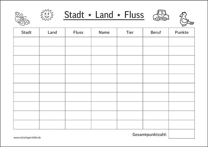 Stadt, Land, Fluss - gratis PDF Vorlage