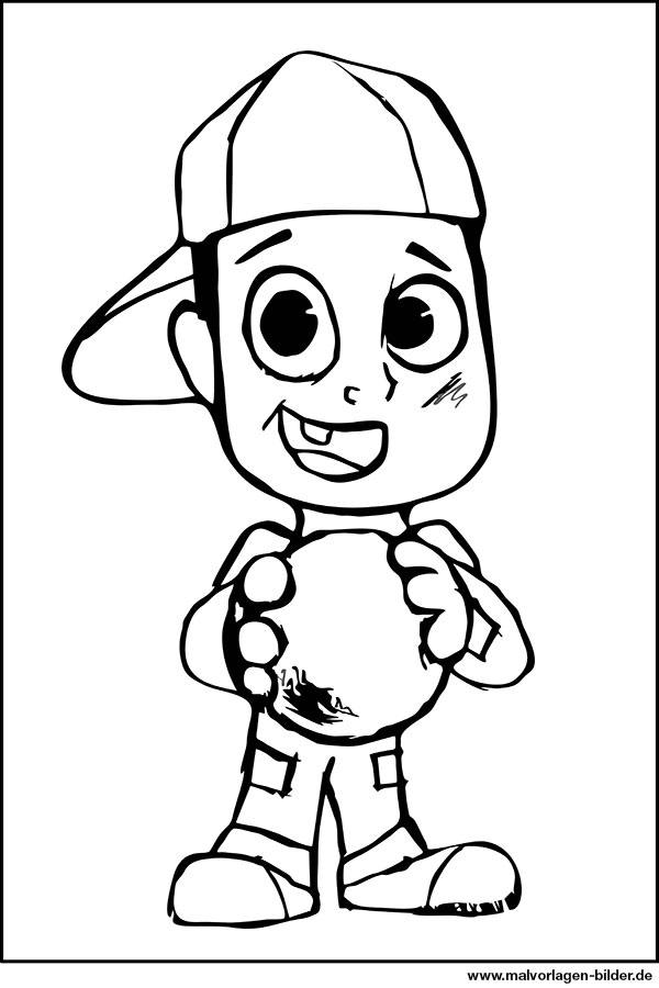 Junge mit einem Ball - Ausmalbild Download