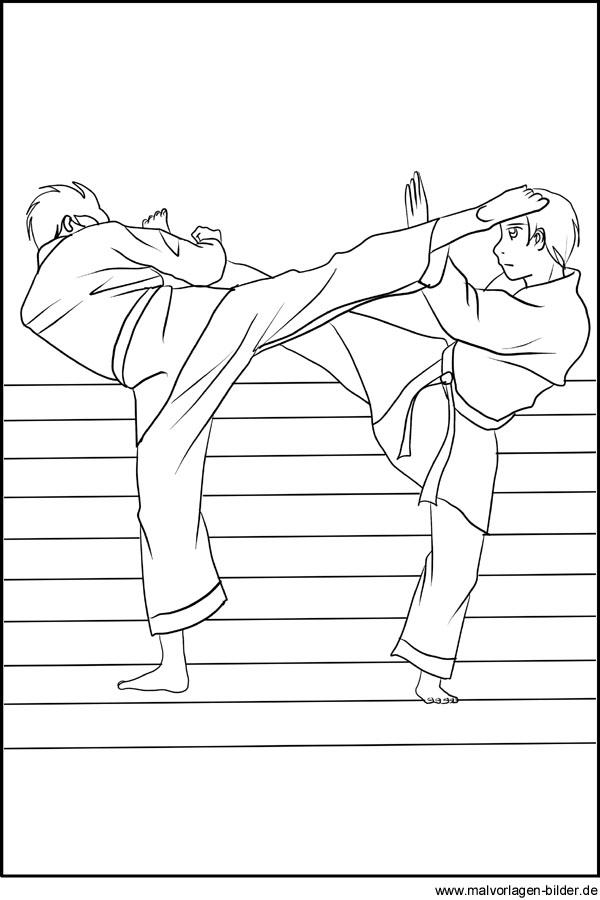 Karate - Ausmalbilder und Malvorlagen vom Kampfsport