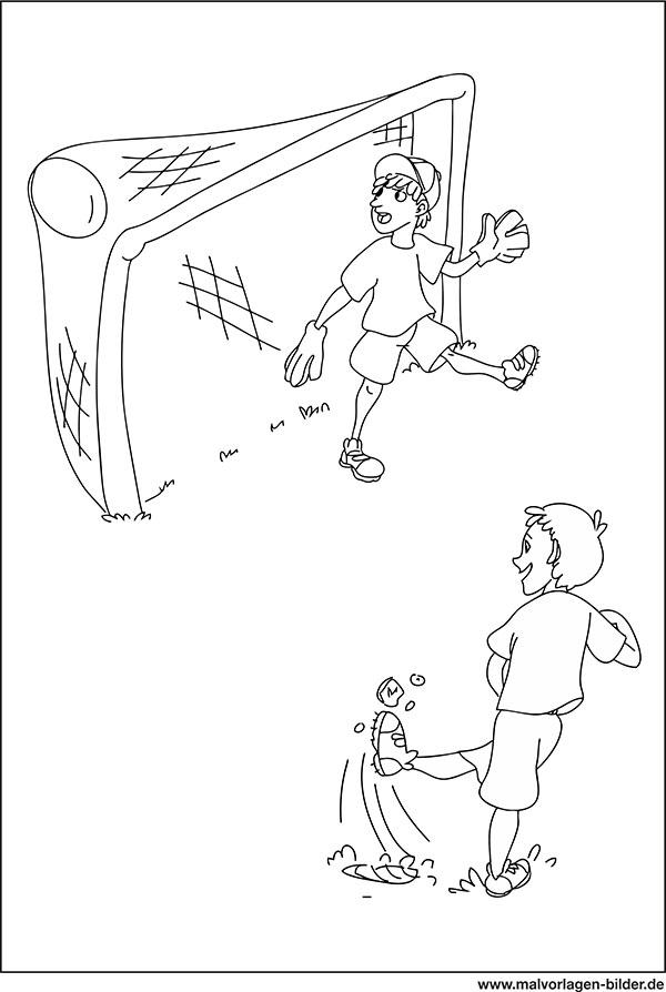 Ein Tor Schiessen Fussball Ausmalbild