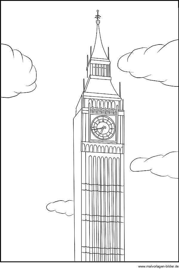 Ausmalbild Big Ben Oder Elizabeth Tower In Londen