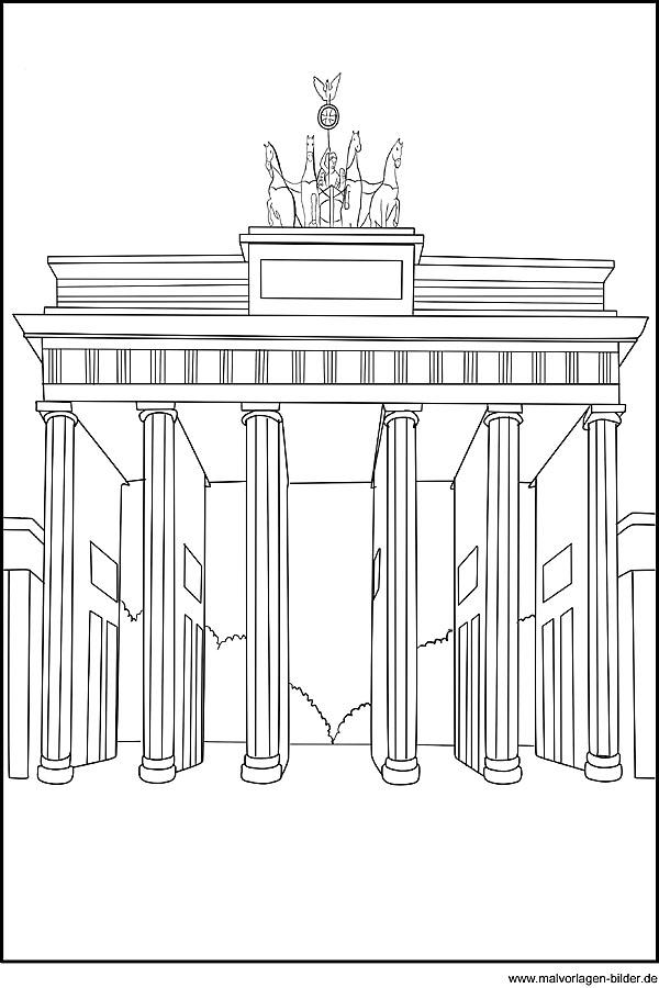 Ausmalbild vom Brandenburger Tor in Berlin