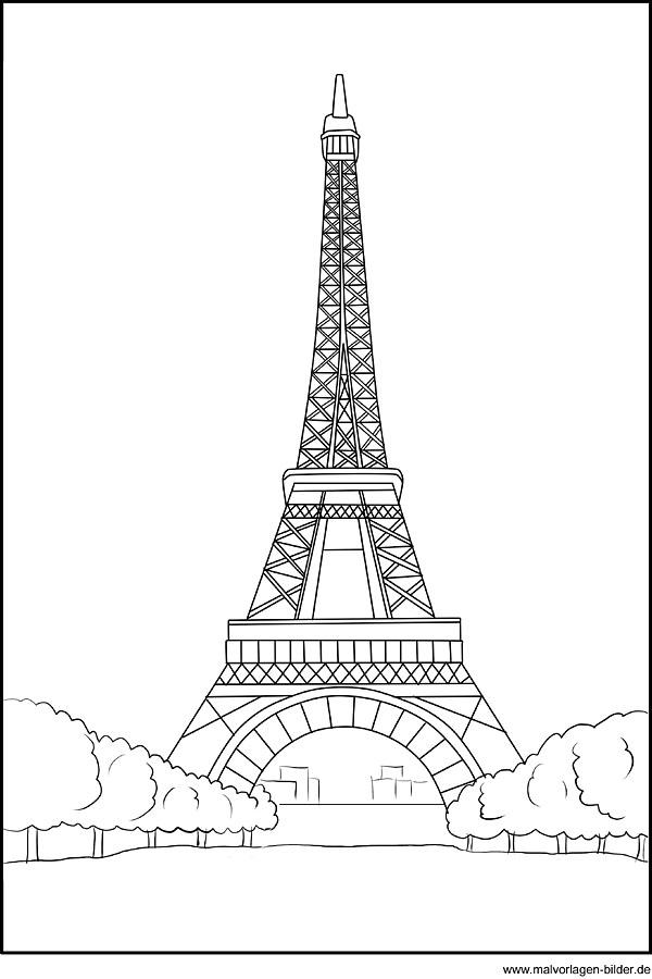 Kostenloses Ausmalbild Vom Eiffelturm In Paris Frankreich