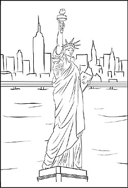 Malvorlage von Miss Liberty in New York