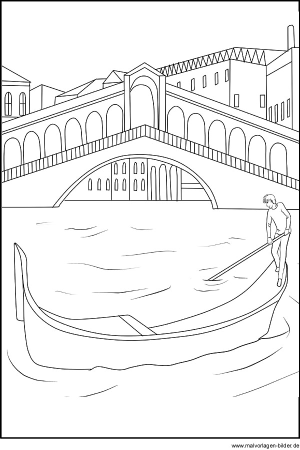 Rialto Brücke in Venedig als kostenlose Malvorlage