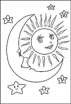 Sonne, Mond und Sterne   Malvorlagen und Window Color Bilder