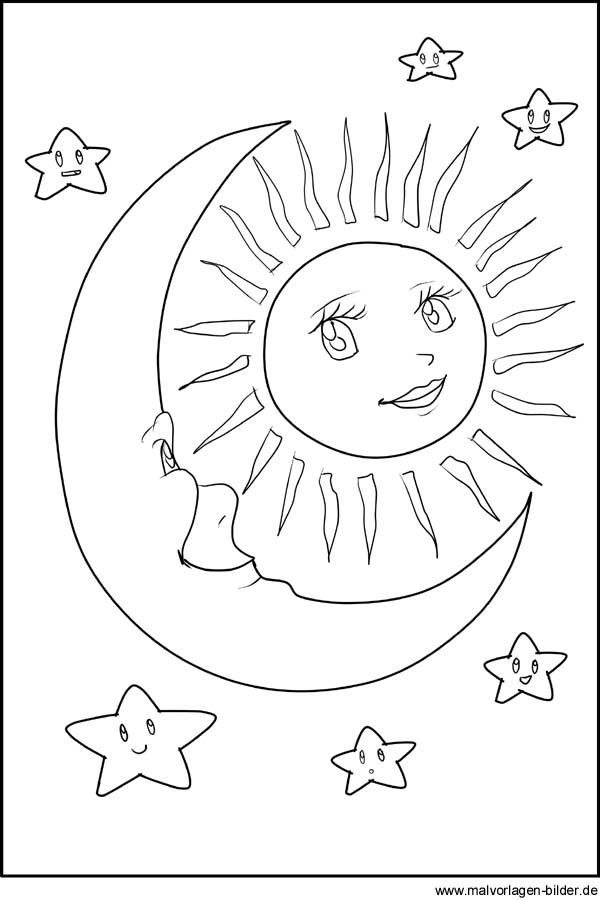 Sonne, Mond und Sterne als kostenlose Malvorlage und Window Color Bild