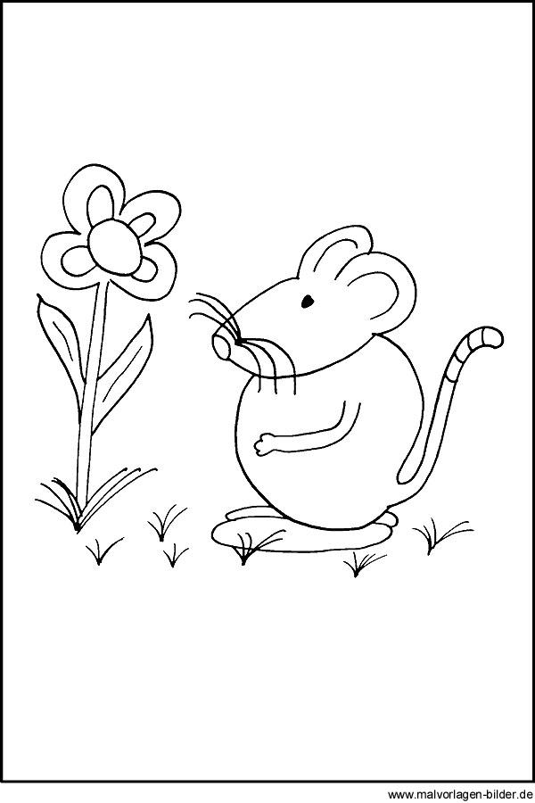Maus mit Blume - kostenloses Ausmalbild