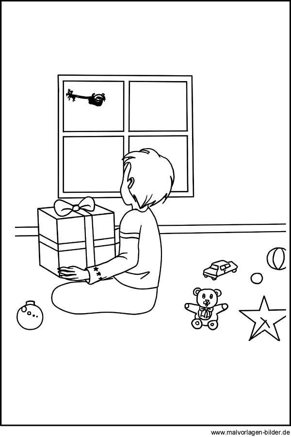 Der Weihnachtsmann bringt Geschenke - Malvorlage und Ausmalbild