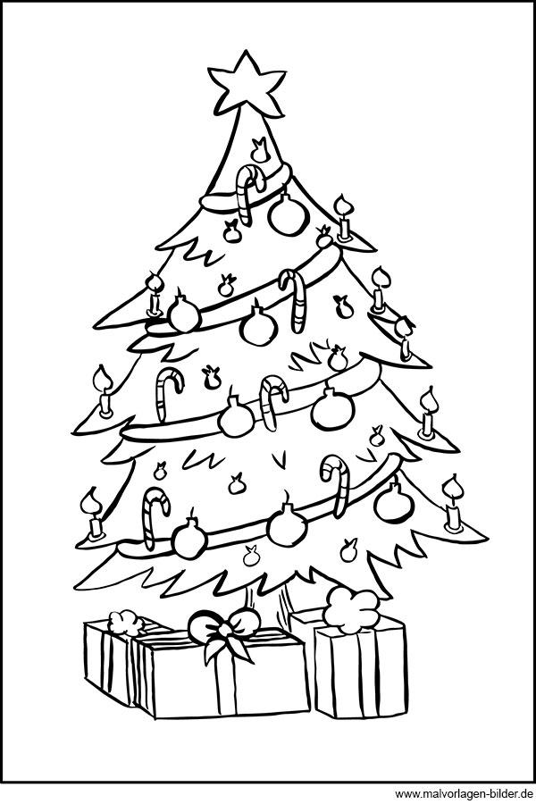 ausmalbild weihnachtsbaum und geschenke zum ausdrucken. Black Bedroom Furniture Sets. Home Design Ideas
