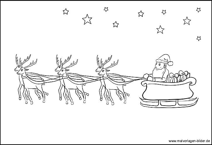 ausmalbild mit dem weihnachtsmann und seinem rentierschlitten. Black Bedroom Furniture Sets. Home Design Ideas