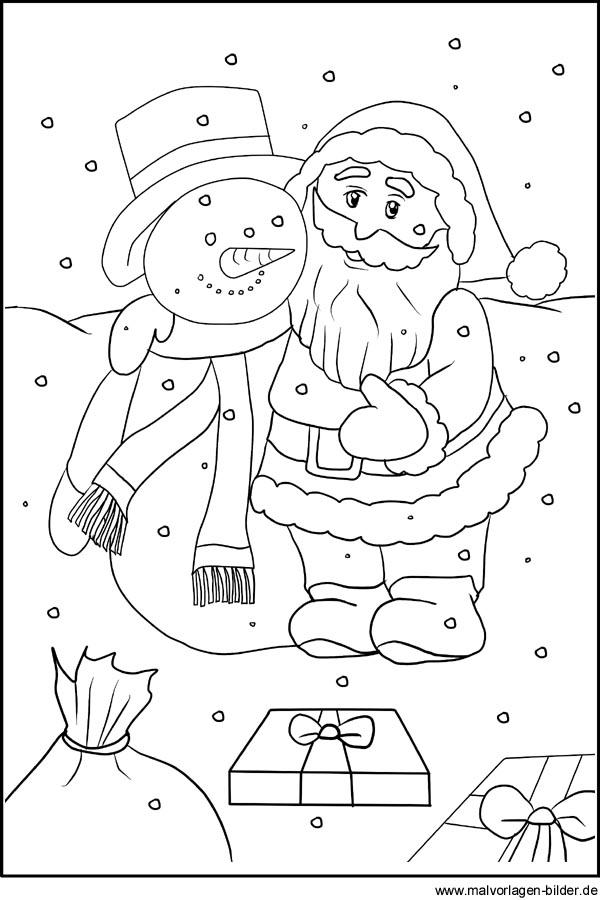 Ausmalbild vom Weihnachtsmann zum kostenlosen Ausdrucken und Ausmalen