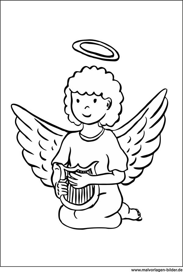 Ausmalbild Engel Mit Flugel Und Harfe