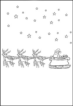 Ausmalbild Mit Dem Weihnachtsmann Und Seinem Rentierschlitten