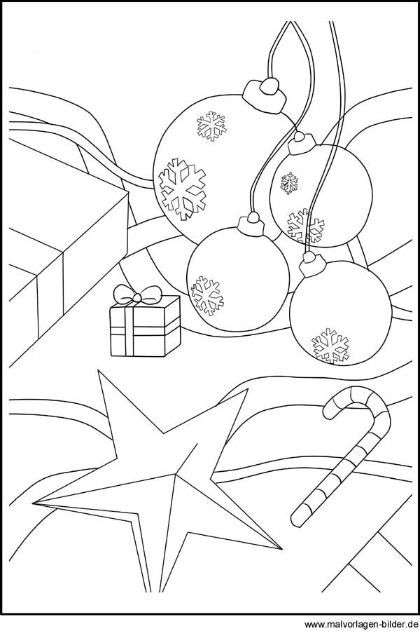 Weihnachtskugeln Als Malvorlagen Ausmalbilder Und Window Color Bild
