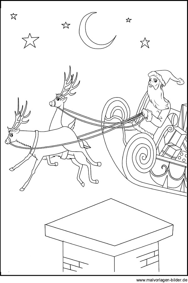 Malvorlage vom Weihnachtsmann und seinem Schlitten zum kostenlosen ...