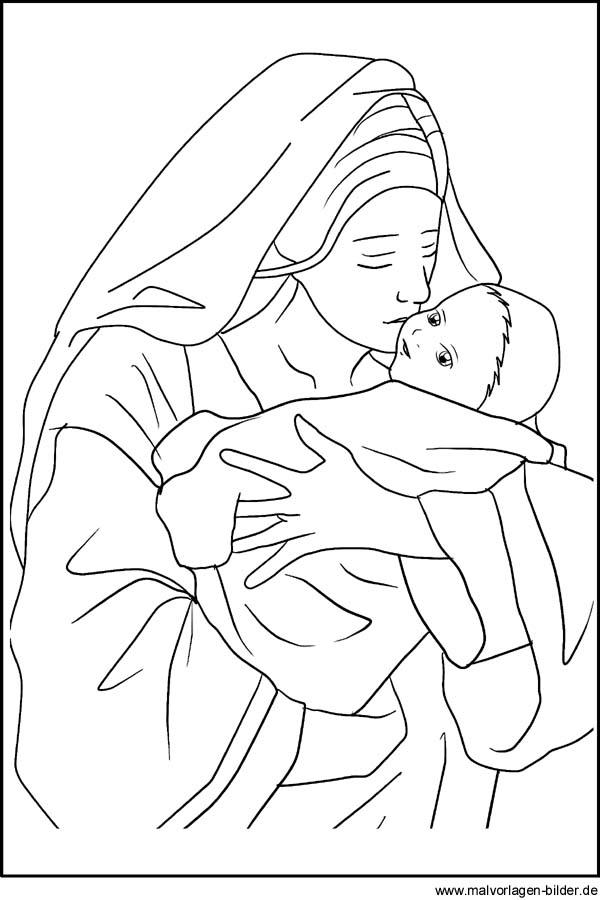 Maria und das Jesuskind - Weihnachtsbild und Malvorlage zum Ausdrucken