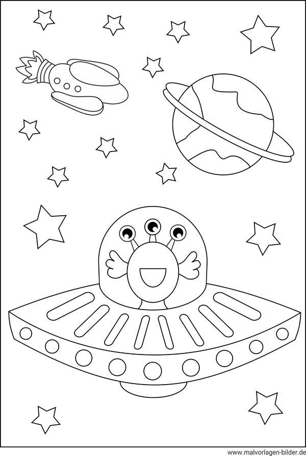 UFO - Kostenlose Malvorlagen und Ausmalbilder für Kinder