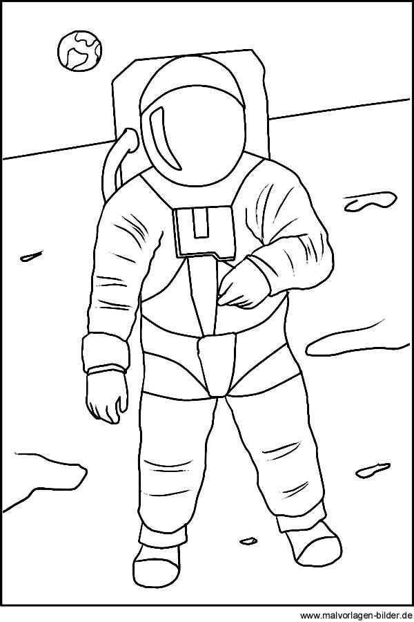 Astronaut auf dem mond kostenlose malvorlagen für kinder