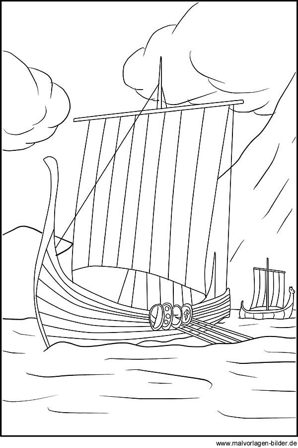 Wikinger Schiff - Malvorlagen und Ausmalbilder für Kinder