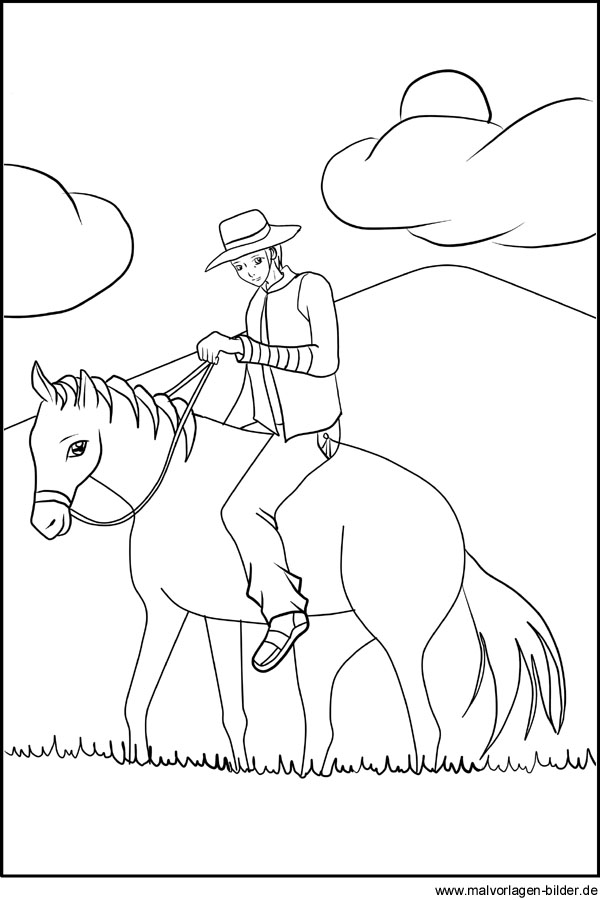 Cowboy Gratis Ausmalbild Zum Ausdrucken