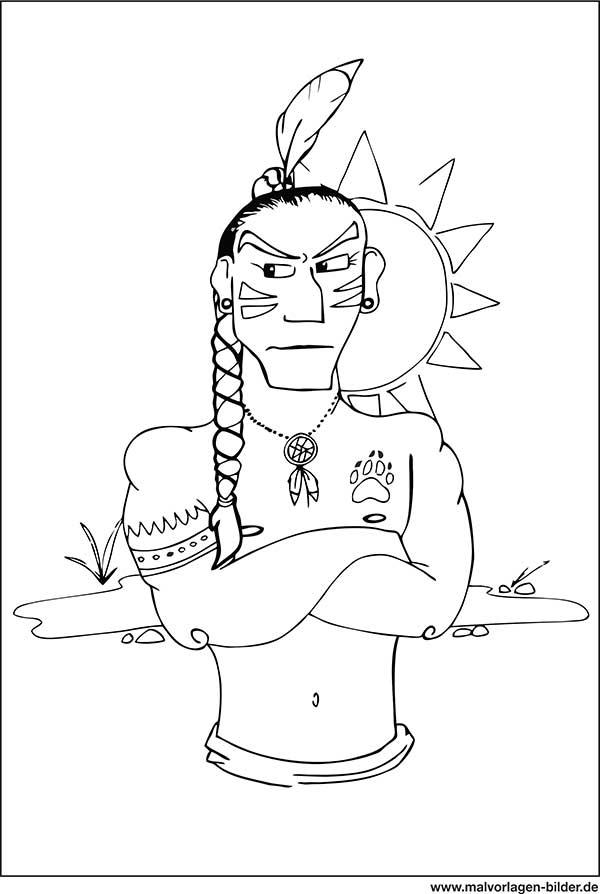 indianer - ausmalbild zum gratis download