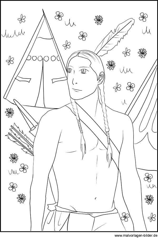 Indianer ausmalbilder fr kinder zum ausdrucken indianer mit pfeil und bogen als malvorlage und ausmalbild altavistaventures Images